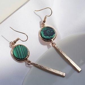 Green marble dangle earrings - gold